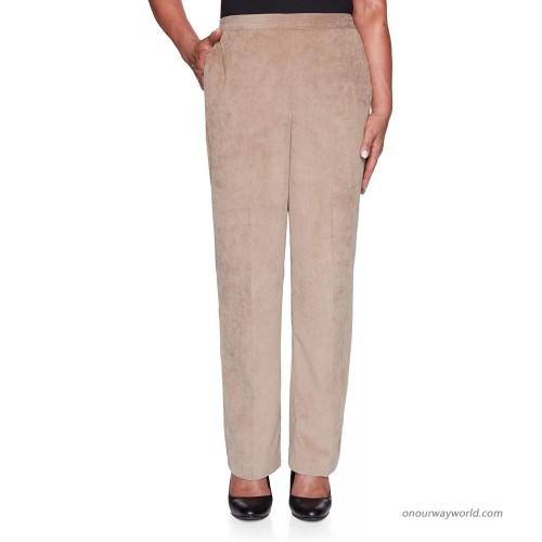 Alfred Dunner Women's Soft Corduroy Lightweight Mid Rise Regular Fit Straight Leg Pant at Women's Clothing store