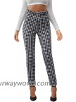 DIDK Women's Wide Waistband Leggings Houndstooth Print High Waist Skinny Pants at  Women's Clothing store