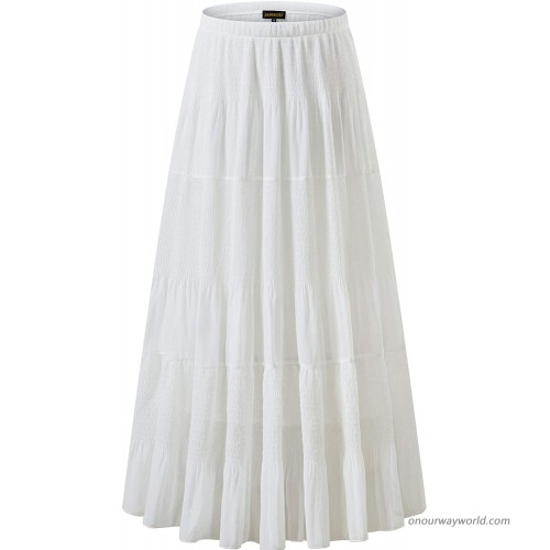 NASHALYLY Women's Chiffon Elastic High Waist Pleated A-Line Flared Maxi Skirts at  Women's Clothing store