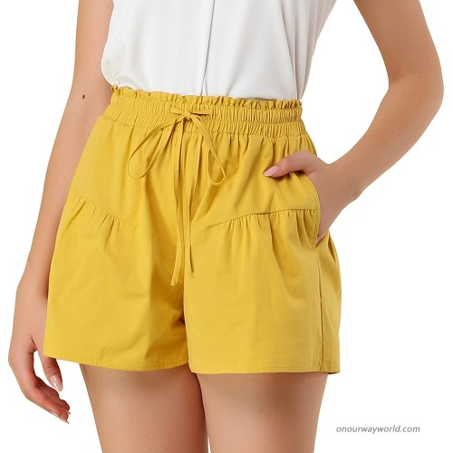 Allegra K Women's Casual Side Pockets Wide Leg Elastic Waisted Cotton Shorts at Women's Clothing store