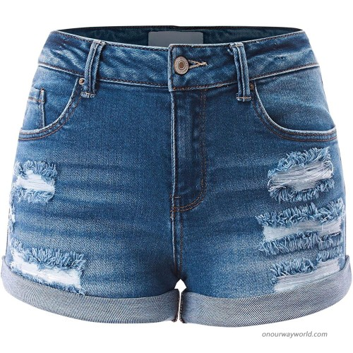 FashionMille Women Casual Distressed Ripped Folded Hem Denim Jeans Shorts at  Women's Clothing store