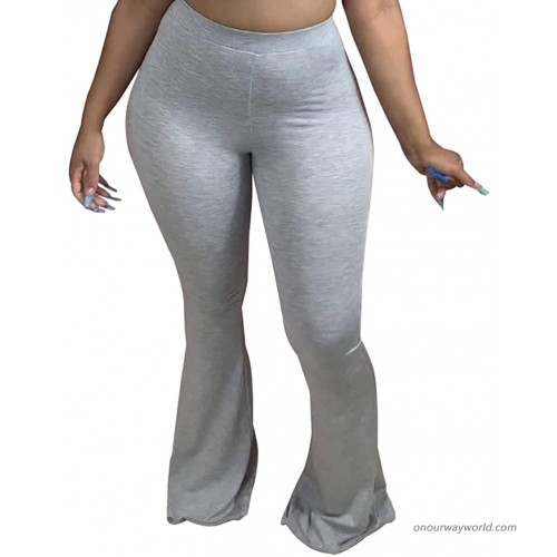 Adogirl Women's Comfy Casual Long Pants Stretchy Lounge Pants High Waisted Bell Bottoms Trousers at Women's Clothing store