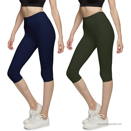 BROOKLYN + JAX Women Super Soft High Waisted Capri Leggings - Assorted Solid Colors - 2 Pack at Women's Clothing store
