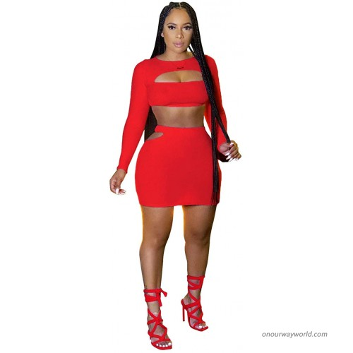 BYDIVA 2021 Sexy Hollow Out Long Sleeve Bodycon Hip Slit Day Dream Skirt Sets