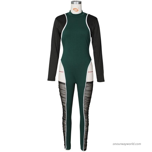 GEMEIQ Womens Sexy Bodycon Clubwear Long Sleeve with Zipper Jumpsuit One Piece Rompers