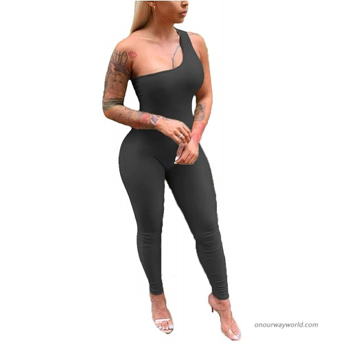 Uni Clau Womens One Shoulder Bodycon Jumpsuit - Sexy Sleeveless One Piece Pant Outfits Rompers Playsuit Clubwear