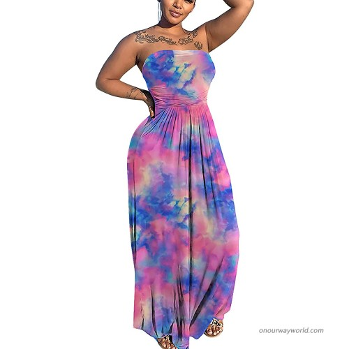 acelyn Womens Sexy Tube Top Long Dress Sleeveless Strapless Summer Casual Loose Maxi Dresses at  Women's Clothing store