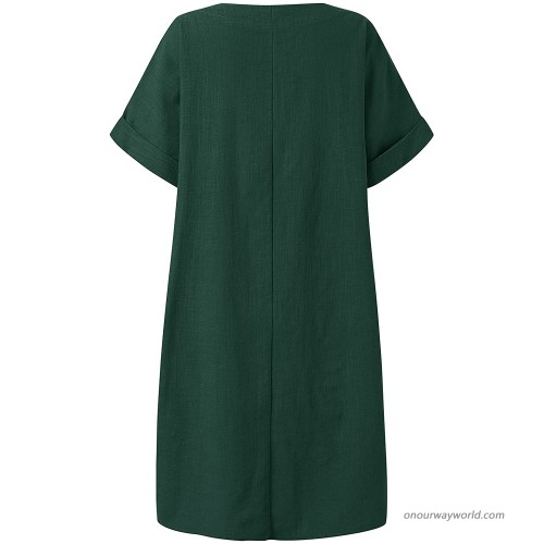 Celmia Women's Kaftan Dresses V Neck Batwing Sleeve Casual Dresses with Pocket Solid at Women's Clothing store