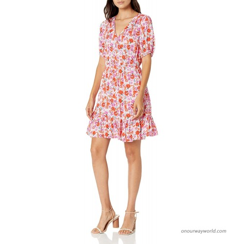 Lucky Brand Women's Short Sleeve V-Neck Ditsy Floral Mila Wrap Dress at  Women's Clothing store