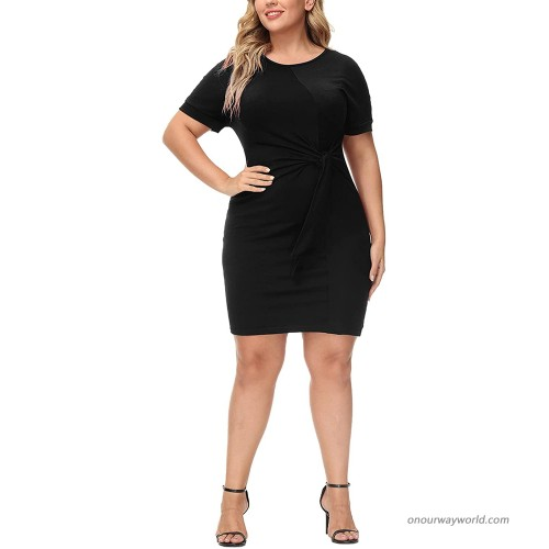 Ophestin Womens Casual Plus Size Solid Twist Knot Short Sleeve Tshirt Dresses at  Women's Clothing store