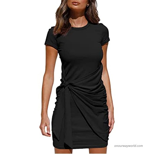 PDBQ Womens Casual Dress Short Sleeve T Shirt Crewneck Bodycon Ruched Tie Waist Solid Color Mini Dresses