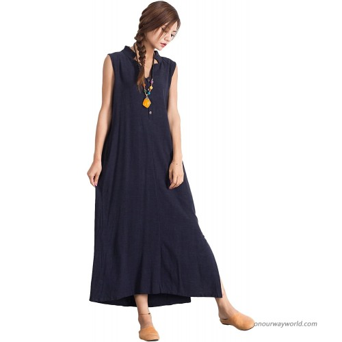 Sellse Women's Cotton Linen Maxi Dress Loose Sleeveless with Pockets at Women's Clothing store
