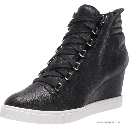 Linea Paolo - Fenton - Mid Height Leather Lace Up Sport Inspired Sneaker Wedge Fashion Sneakers