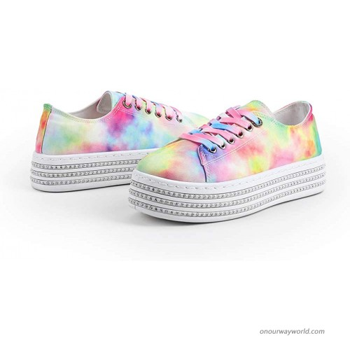 LUCKY STEP Women's Platform Rhine Stone Chunky Sneakers Casual Lace up Canvas Low Top Fashion Tennis Rainbow Shoes. Fashion Sneakers