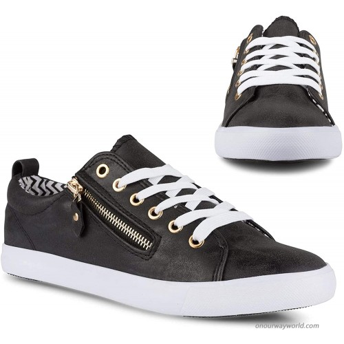 Twisted Women's Alley Faux Leather Fashion Sneaker with Decorative Zipper Fashion Sneakers