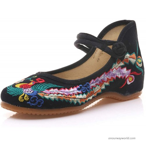 BININBOX Women Chinese Embroidered Flower Flat Bridal Mary Jane Ballet Shoes Handmade Embroidered Shoes for Women Flats