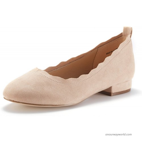 DREAM PAIRS Women's Sole_Elle Nude Fashion Low Stacked Slip On Flats Shoes Size 5.5 M US Flats