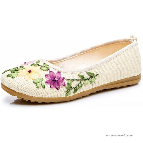 TN TANGNEST Women's Ethnic Style Cotton and Linen Handmade Flower Embroidered Shoes Flats