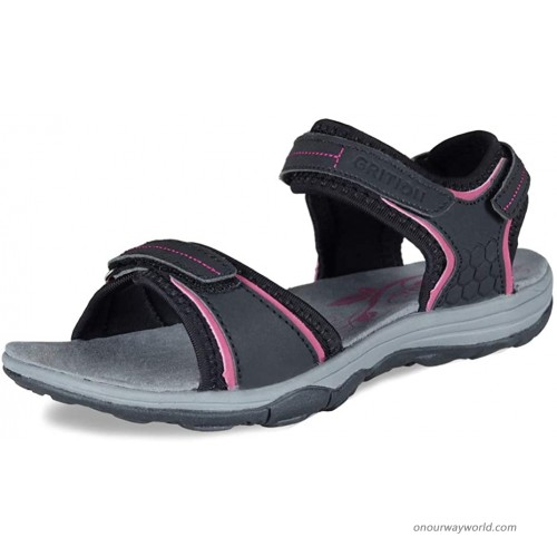 GRITION Women Hiking Sandals Waterproof Open Toe 3 Adjustable Hook and Loop Sports and Outdoor Water Sandle Sport Sandals & Slides