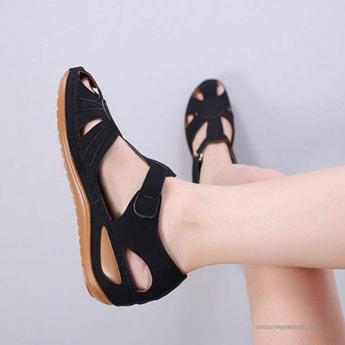 Vimisaoi Women's Comfortable Cutout Hook and Loop Summer Athletic Wedge Sandals Loafers Walking Flat Shoes Platforms & Wedges