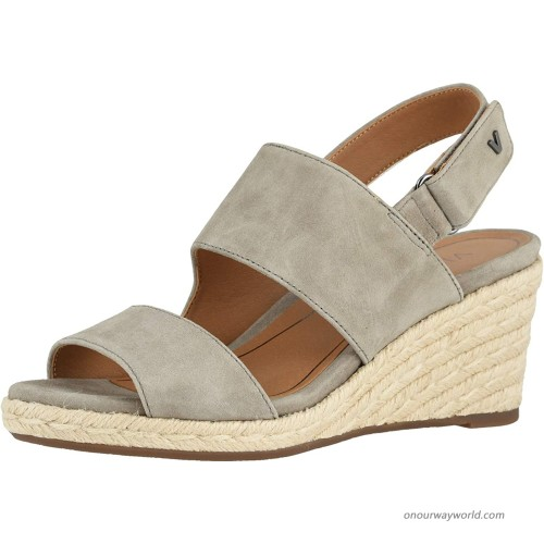 Vionic Women's Brooke Wedge Sandals - Espadrille with Concealed Orthotic Arch Support Platforms & Wedges