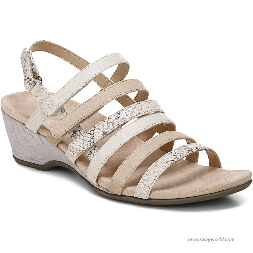 Vionic Women's Paradise Tess Backstrap Wedge-Ladies Comfortable Wedge Sandals that include Three-Zone Comfort with Orthotic Insole Arch Support Shoes