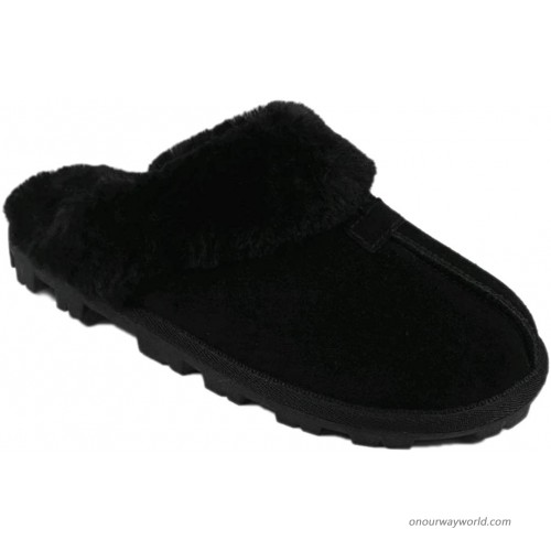 Black Classic Suede Fur Lined Clog Slipper - 5 6 Slippers