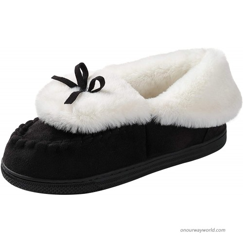 HOME RIGHT Moccasin Slippers for Women Suede Foldover Bootie Slipper with Tie Indoor Outdoor House Slippers Slippers