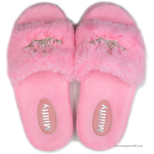 Millffy Plush Fluffy Slippers Princess Crown Bling Bling Diamond Ladies Shoes Pink Girl Home Slippers Women US 7 8 or UK 5 6 or EU 38 39 Pink