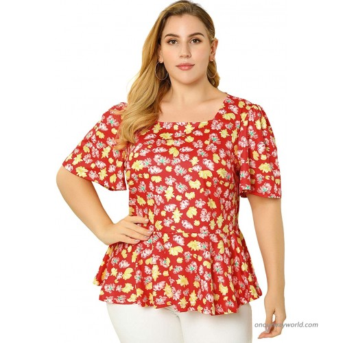 Agnes Orinda Women's Plus Size Blouse Floral Printed Square Neck Ruffle Sleeves Peplum Blouses at  Women's Clothing store