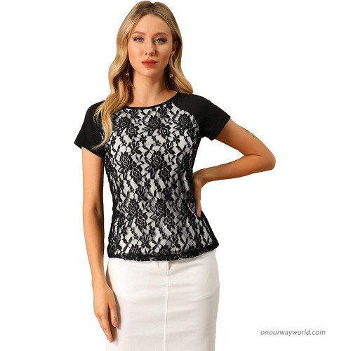 Allegra K Women's Casual Round Neck Tops Short Sleeve Lace Floral Blouse at  Women's Clothing store