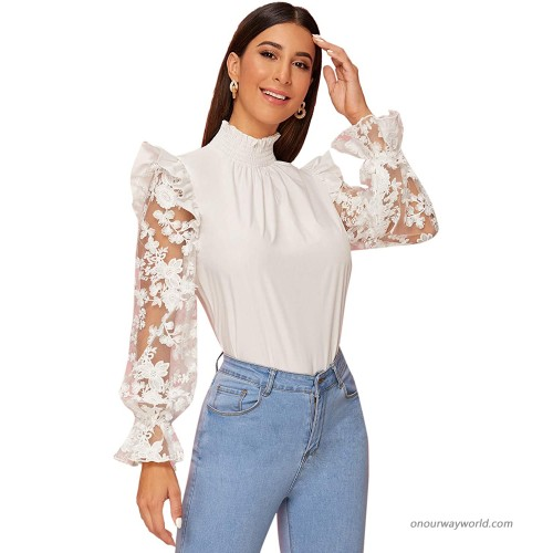 Floerns Women's High Neck Bishop Sleeve Embroidered Mesh Lace Blouse Top at  Women's Clothing store