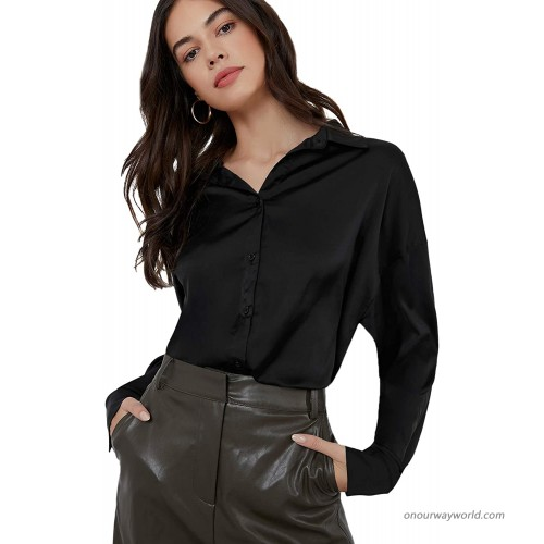 SheIn Women's Long Sleeve Satin Blouse Button Solid Drop Shoulder Shirt Tops at  Women's Clothing store