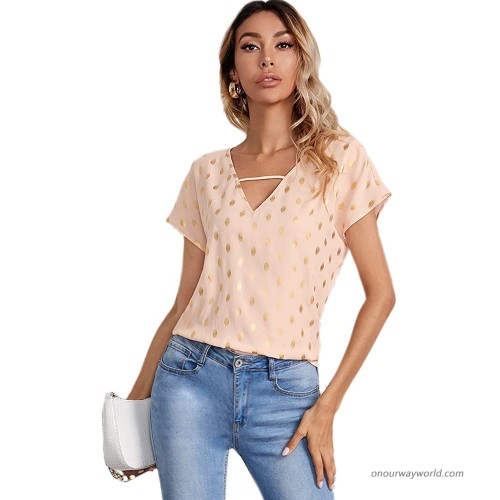 SOLY HUX Women's Casual V Neck Metallic Dots Print Short Sleeve Blouse Top at Women's Clothing store