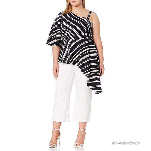 City Chic Women's Apparel Women's Plus Size Asymetrical Detailed Sleeve and Side Striped Top at  Women's Clothing store