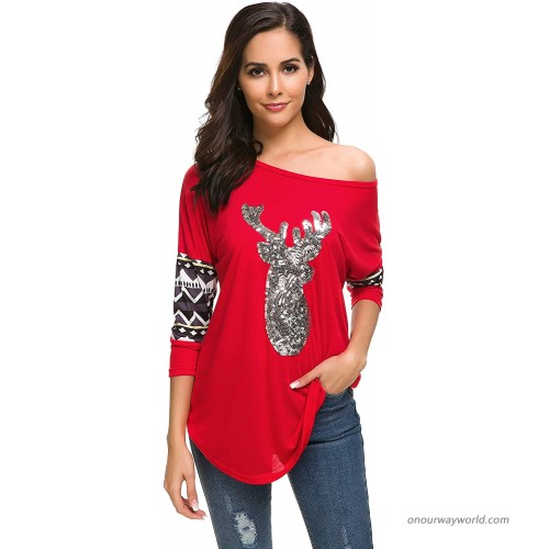 HBEYYTO Women Christmas Shirts Long Sleeve Round Neck Casual Sparkly Reindeer Tunic Tops Blouse at Women's Clothing store