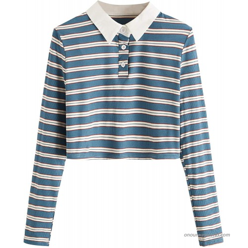 Milumia Women's Striped Long Sleeve Tee Button Front Lapel Neck Polo Tee Tops Blue Large at  Women's Clothing store
