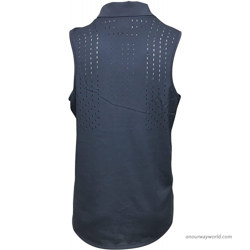 Nike Women's Sleeveless Polo Shirt Polyester Spandex Blend Dri-Fit Ace Sleeveless Polo Navy Large at Women's Clothing store