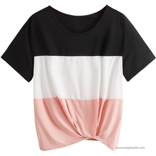 Romwe Women's Plus Size Color Block Short Sleeve Twist Front T Shirt Tee Tops at  Women's Clothing store