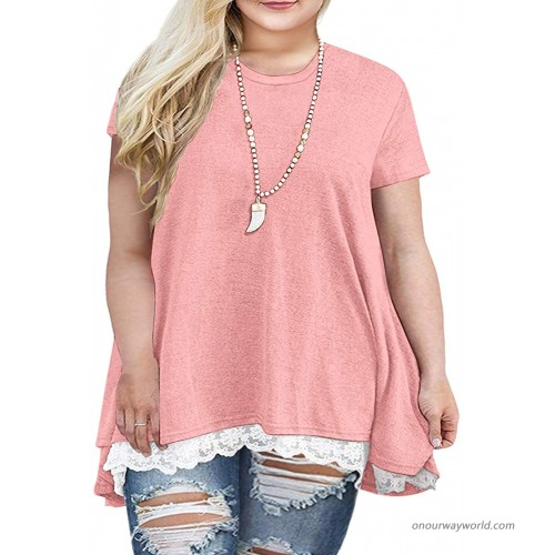 Sanifer Women Plus Size Lace Short Sleeve Tunic Tops T Shirts 14W Pink at  Women's Clothing store