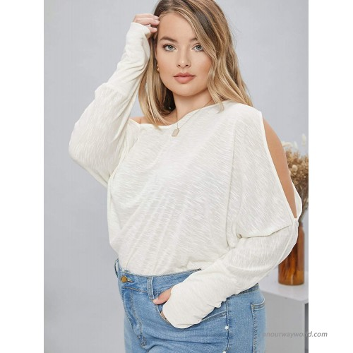 SheIn Women's Plus One Shoulder Cut Out Batwing Long Sleeve Solid Tee Tops Apricot X-Large Plus at Women's Clothing store