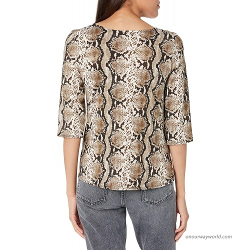 Star Vixen Women's Plus Size Elbow Sleeve Taupe Snake 4X at Women's Clothing store