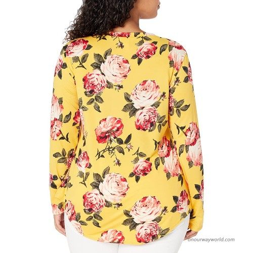 Star Vixen Women's Plus Size Long Sleeve Babydoll Top with V Neck Mustard Floral 2X at Women's Clothing store