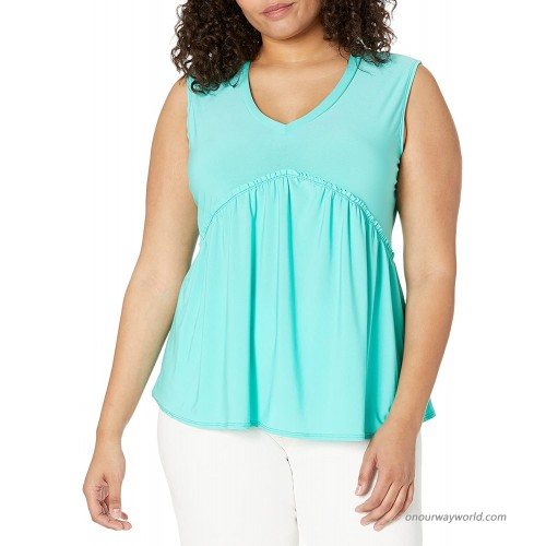 Star Vixen Women's Plus Size Sleeveless Babydoll Top with V Neck Mint 1X at  Women's Clothing store