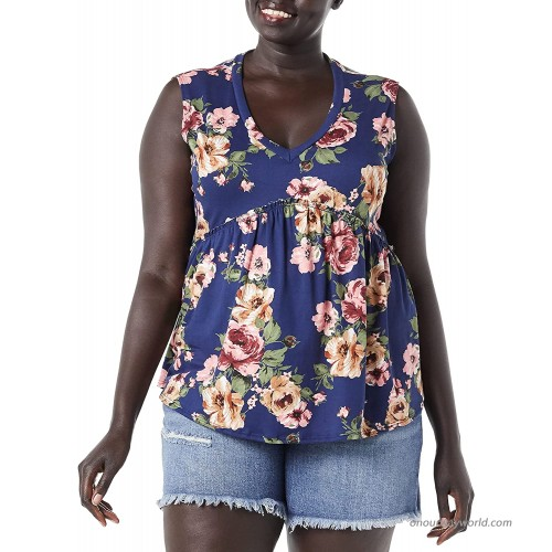 Star Vixen Women's Plus Size Sleeveless Babydoll Top with V Neck Navy Floral 1X at  Women's Clothing store