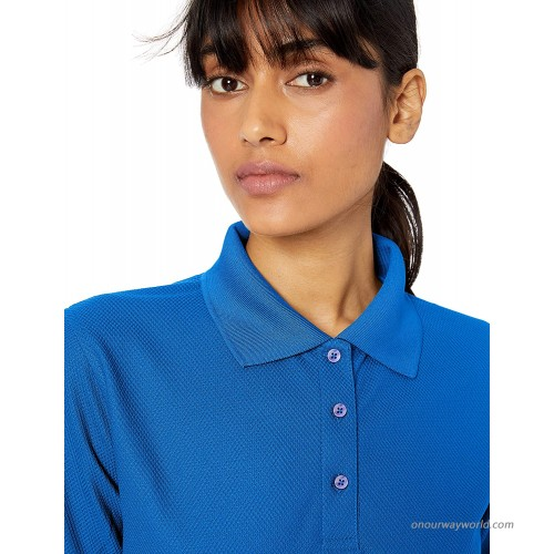 UltraClubs Women's Cool & Dry Pebble-Knit Polo Tee at Women's Clothing store