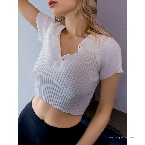 Women Casual Rib Knit Short Sleeves Stand Neck Button Blouse Tee Crop Polo Shirt Top at Women's Clothing store