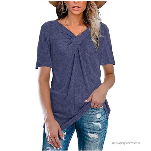 Womens Plus Size Short Sleeve A-Line Flowy Tunic Tops Lace Trim Shirt Blouse at Women's Clothing store