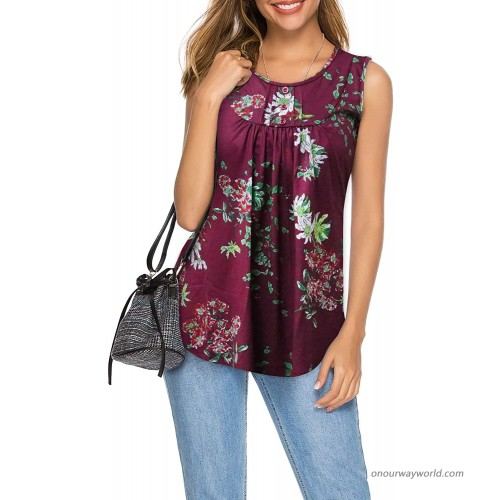 CEASIKERY Women's Floral Pleated Sleeveless Tops Casual Flare Tunic Tank Top 007 at Women's Clothing store