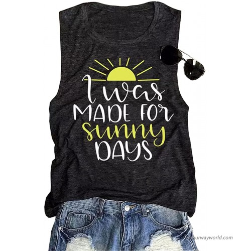 I was Made for Sunny Days Sunset Tank Top Women Funny Sunshine Graphic Vacation Vest Summer Beach Sleeveless Tee at  Women's Clothing store